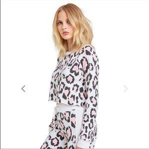 Wildfox blush leopard print crop top Sz XS NWT